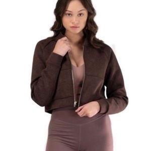 NWOT Balance Athletica Flight Cropped Bomber Jacket Brown Fluer size Small